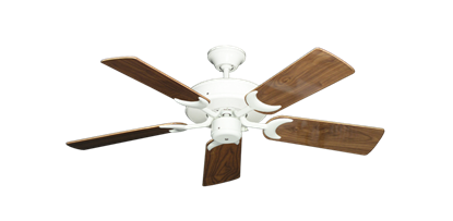 "Picture of Patio Fan Pure White with 44"" Walnut Gloss Blades"