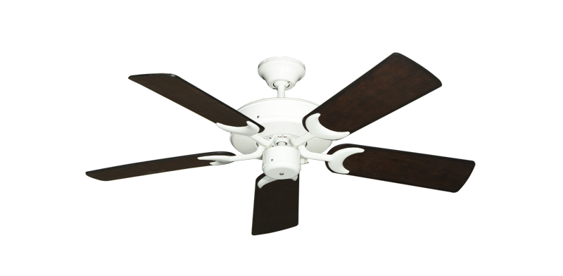 "Picture of Patio Fan Pure White with 44"" Distressed Walnut Blades"