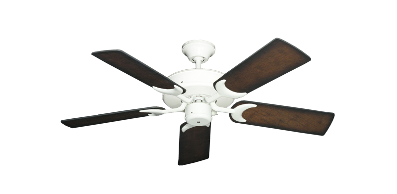 "Picture of Patio Fan Pure White with 44"" Distressed Hickory Blades"