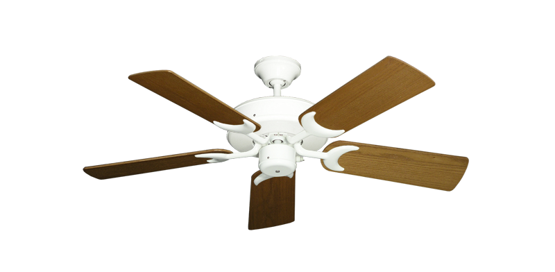 """Picture of Patio Fan Pure White with 44"""" Light Oak Blades"""