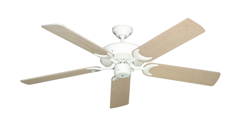 "Picture of Patio Fan Pure White with 52"" Bleached Oak Blades"