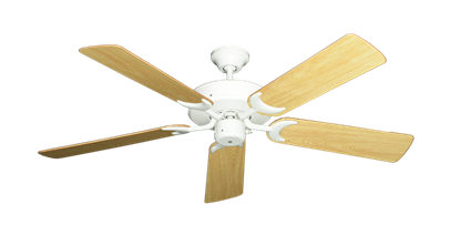 "Picture of Patio Fan Pure White with 52"" Honey Oak Gloss Blades"