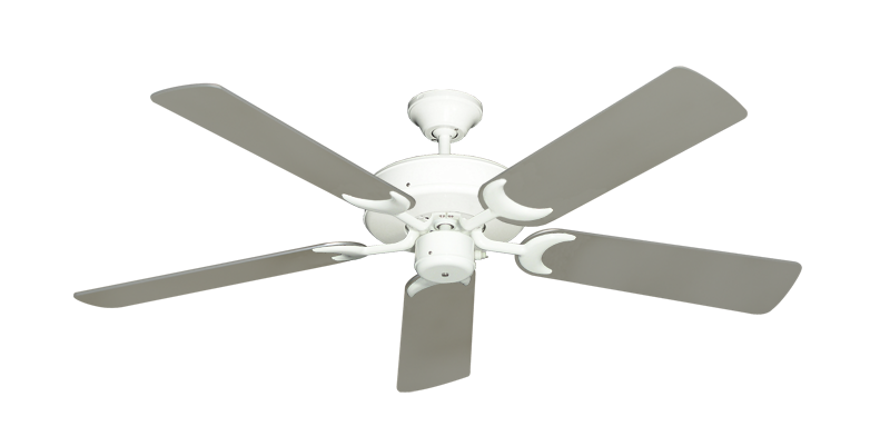 "Picture of Patio Fan Pure White with 52"" Satin Steel (painted) Blades"