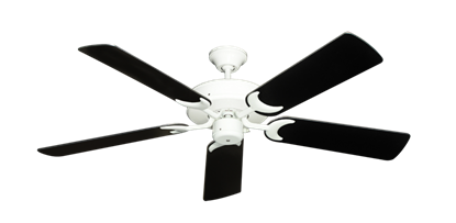 "Picture of Patio Fan Pure White with 52"" Black Blades"