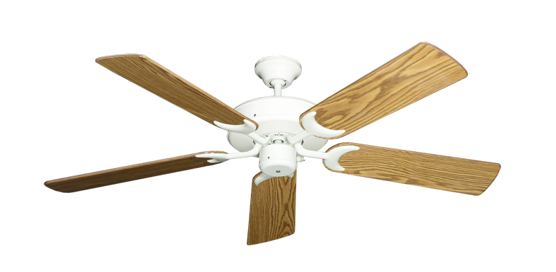 """Picture of Patio Fan Pure White with 52"""" Oak Gloss Blades"""