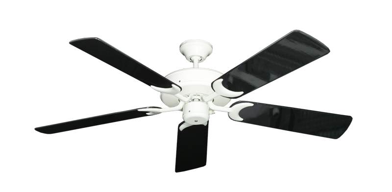 """Picture of Patio Fan Pure White with 52"""" Black Gloss Blades"""
