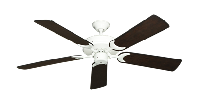 "Picture of Patio Fan Pure White with 52"" Distressed Walnut Blades"