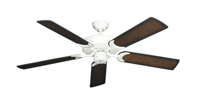 "Picture of Patio Fan Pure White with 52"" Distressed Hickory Blades"
