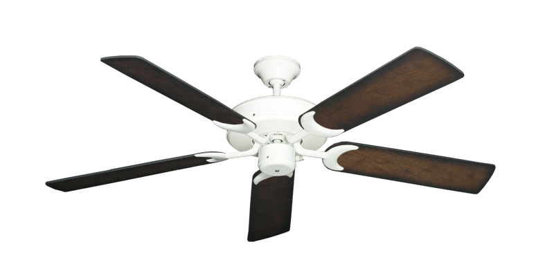 """Picture of Patio Fan Pure White with 52"""" Distressed Hickory Blades"""