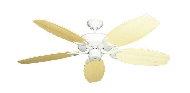 """Picture of Patio Fan Pure White with 52"""" Oar Bamboo Natural Blades"""