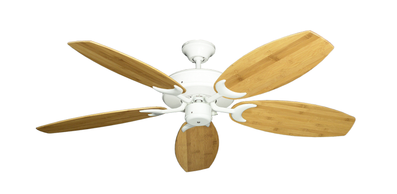 "Picture of Patio Fan Pure White with 52"" Oar Bamboo Brown Blades"