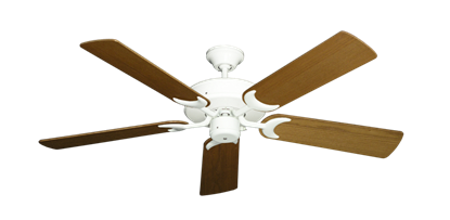 "Picture of Patio Fan Pure White with 52"" Light Oak Blades"