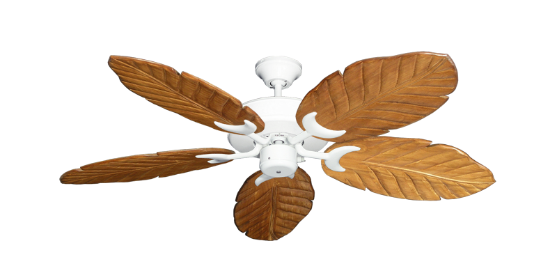 "Picture of Patio Fan Pure White with 52"" Series 125 Arbor Oak Blades"