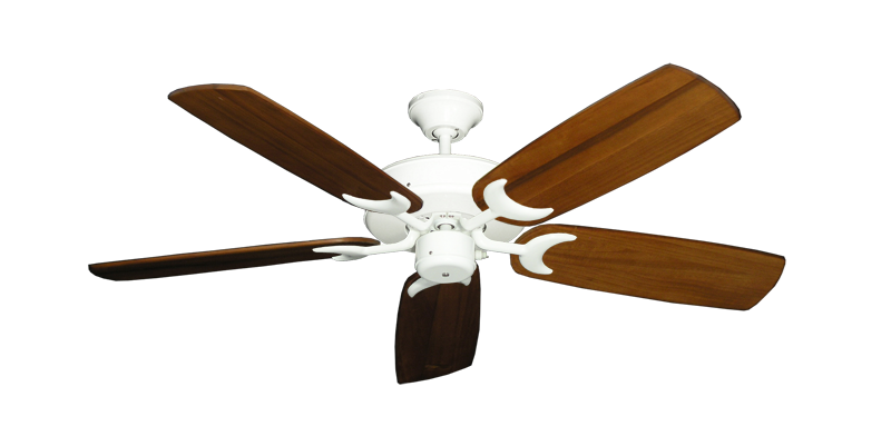 """Picture of Patio Fan Pure White with 52"""" Series 425 Arbor Oak Blades"""