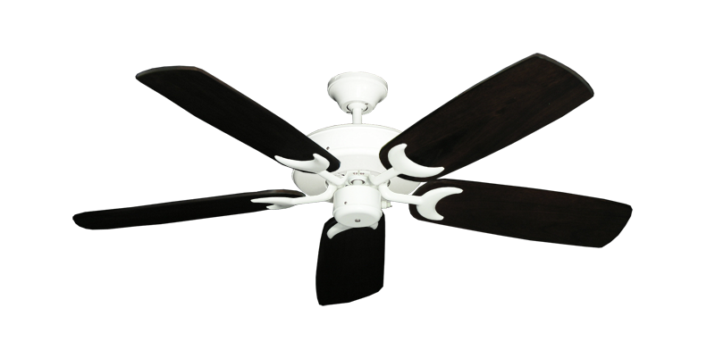 "Picture of Patio Fan Pure White with 52"" Series 425 Arbor Dark Walnut Blades"