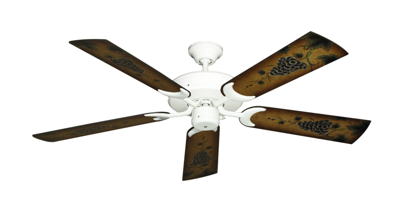 """Picture of Patio Fan Pure White with 52"""" Series 353 Arbor Grapes Blades"""