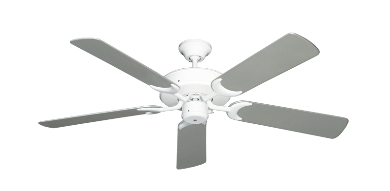 """Picture of Patio Fan Pure White with 52"""" Outdoor Brushed Nickel Blades"""