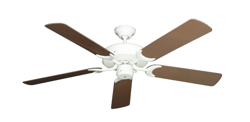 "Picture of Patio Fan Pure White with 52"" Outdoor Brown Blades"
