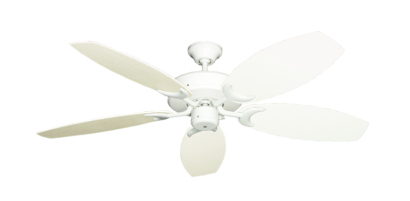 """Picture of Patio Fan Pure White with 52"""" Outdoor Oar Antique White Blades"""