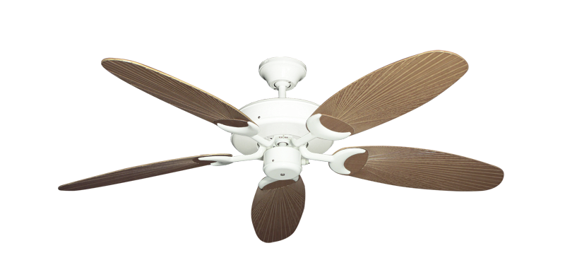 "Picture of Patio Fan Pure White with 52"" Outdoor Leaf Tan Blades"