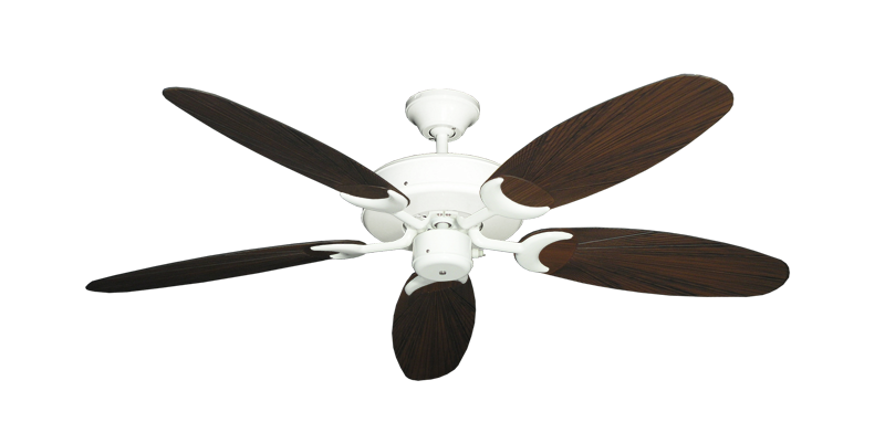 """Picture of Patio Fan Pure White with 52"""" Outdoor Leaf Oil Rubbed Bronze Blades"""