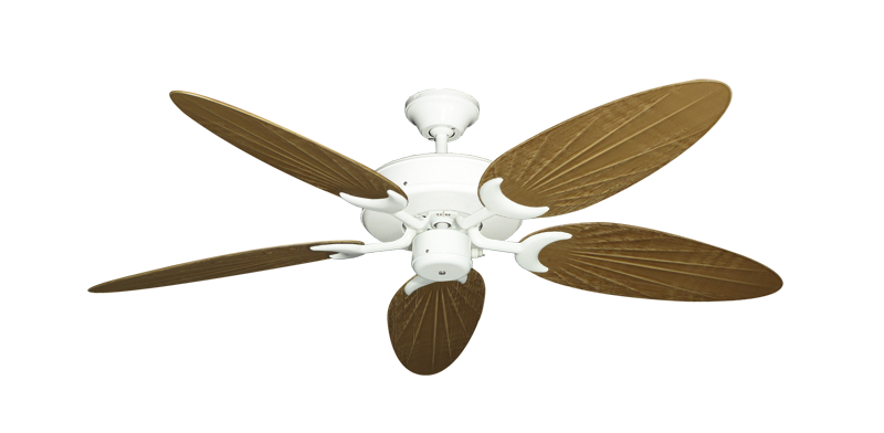 """Patio Fan Pure White with 52"""" Outdoor Palm Walnut Blades"""