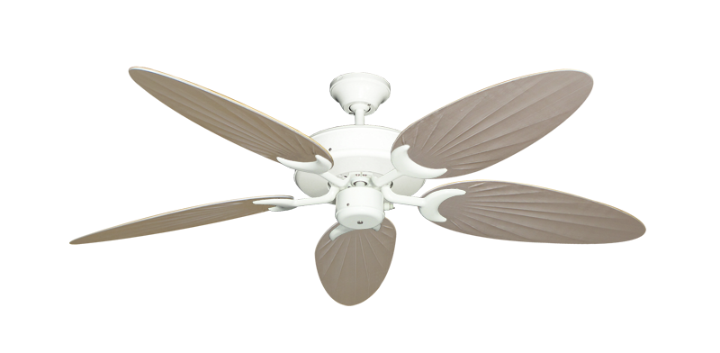"Patio Fan Pure White with 52"" Outdoor Palm Distressed White Blades"