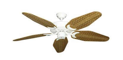 """Picture of Patio Fan Pure White with 52"""" Outdoor Weave Walnut Blades"""
