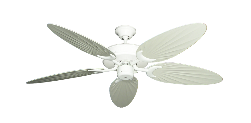 """Picture of Patio Fan Pure White with 52"""" Outdoor Palm Antique White Blades"""