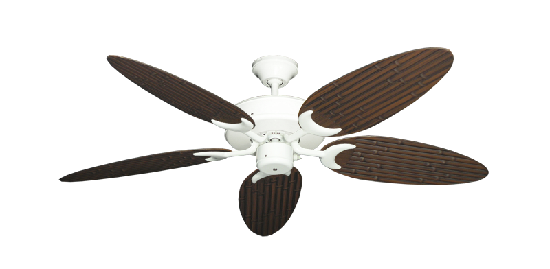 """Picture of Patio Fan Pure White with 52"""" Outdoor Bamboo Oil Rubbed Bronze Blades"""