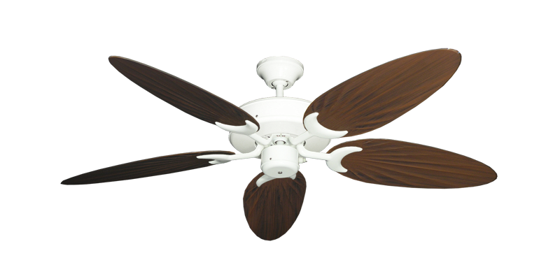 """Patio Fan Pure White with 52"""" Outdoor Palm Oil Rubbed Bronze Blades"""