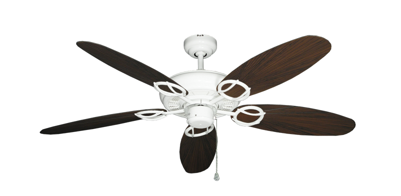 "Trinidad Pure White with 52"" Outdoor Leaf Oil Rubbed Bronze Blades"