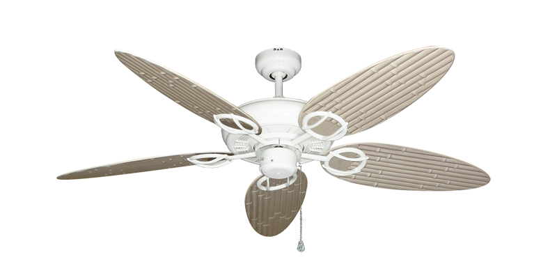 """Picture of Trinidad Pure White with 52"""" Outdoor Bamboo Distressed White Blades"""