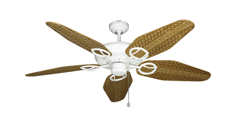 """Trinidad Pure White with 52"""" Outdoor Weave Walnut Blades"""