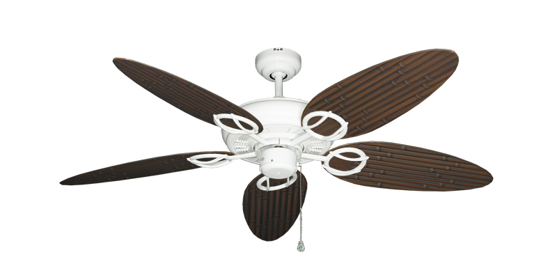 """Trinidad Pure White with 52"""" Outdoor Bamboo Oil Rubbed Bronze Blades"""