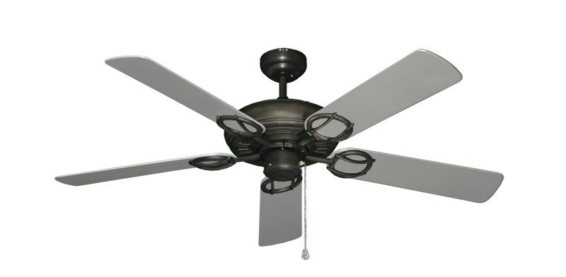 """Picture of Trinidad Oil Rubbed Bronze with 52"""" Outdoor Brushed Nickel Blades"""