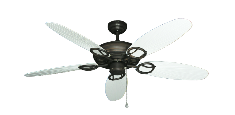 """Trinidad Oil Rubbed Bronze with 52"""" Outdoor Leaf Pure White Blades"""