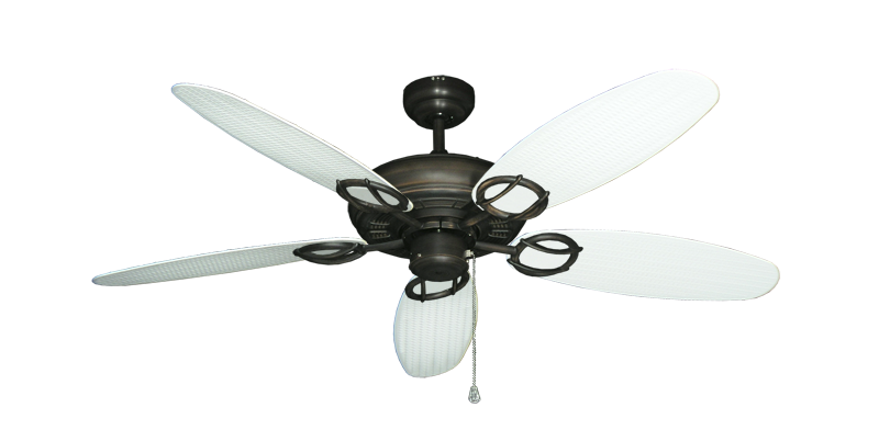 """Picture of Trinidad Oil Rubbed Bronze with 52"""" Outdoor Wicker Pure White Blades"""