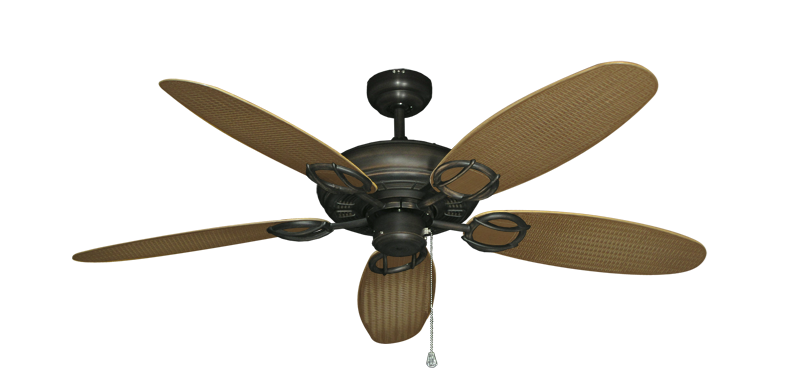 "Picture of Trinidad Oil Rubbed Bronze with 52"" Outdoor Wicker Tan Blades"