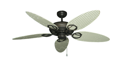 """Trinidad Oil Rubbed Bronze with 52"""" Outdoor Bamboo Antique White Blades"""