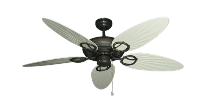 """Trinidad Oil Rubbed Bronze with 52"""" Outdoor Palm Antique White Blades"""
