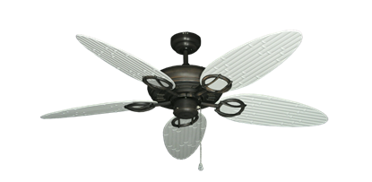 """Trinidad Oil Rubbed Bronze with 52"""" Outdoor Bamboo Pure White Blades"""