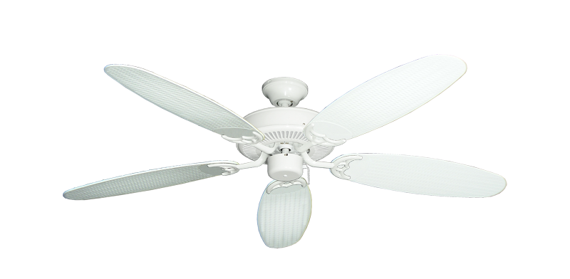 """Picture of Bermuda Breeze V Pure White with 52"""" Outdoor Wicker Pure White Blades"""