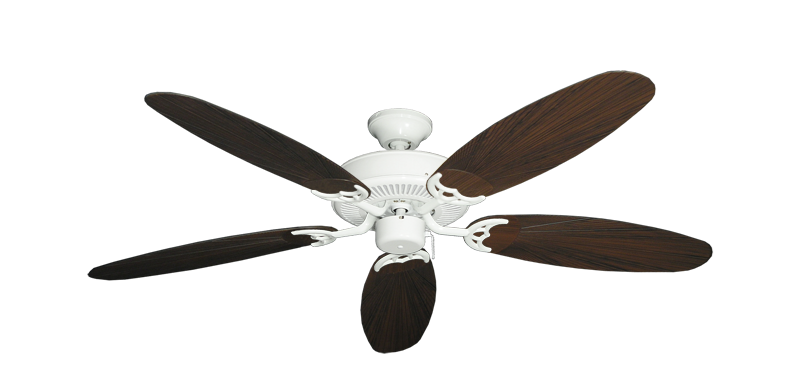 """Picture of Bermuda Breeze V Pure White with 52"""" Outdoor Leaf Oil Rubbed Bronze Blades"""