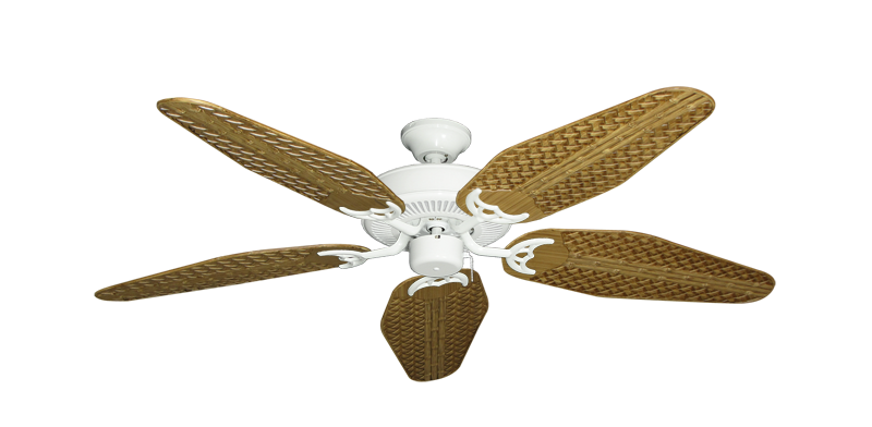 """Picture of Bermuda Breeze V Pure White with 52"""" Outdoor Weave Walnut Blades"""