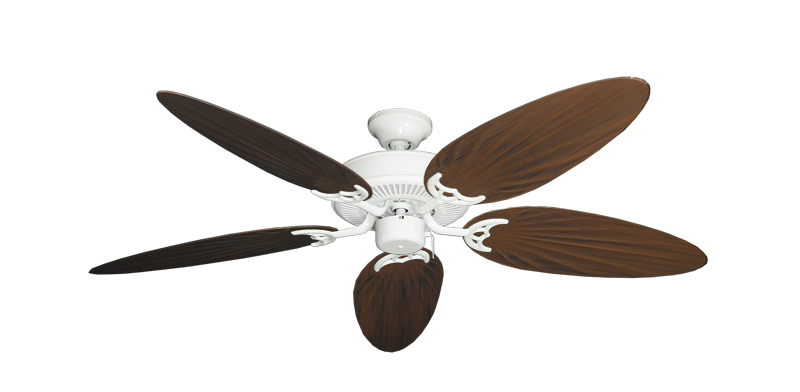 "Picture of Bermuda Breeze V Pure White with 52"" Outdoor Palm Oil Rubbed Bronze Blades"