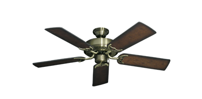 "Bermuda Breeze V Antique Brass with 44"" Distressed Hickory Blades"