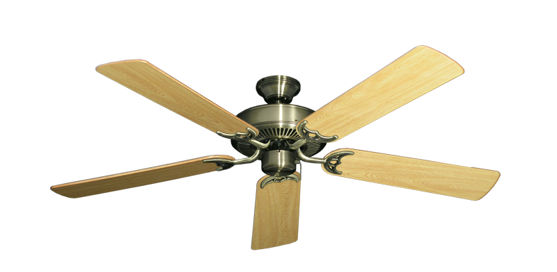 """Picture of Bermuda Breeze V Antique Brass with 52"""" Honey Oak Gloss Blades"""