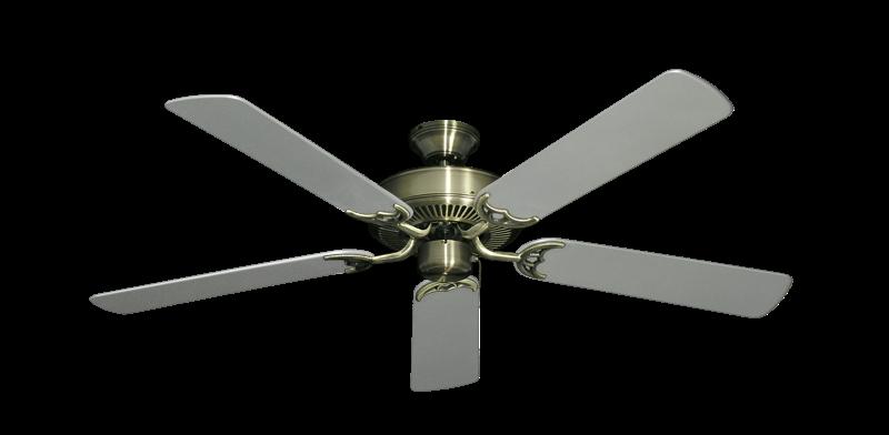 "Bermuda Breeze V Antique Brass with 52"" Outdoor Brushed Nickel Blades"