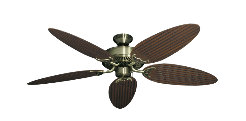 "Picture of Bermuda Breeze V Antique Brass with 52"" Outdoor Bamboo Oil Rubbed Bronze Blades"